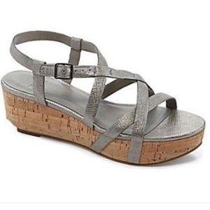 Eileen Fisher Array Pewter Metallic Wedge Sandals